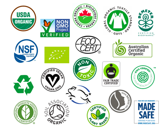 Various Organic Certification Seals